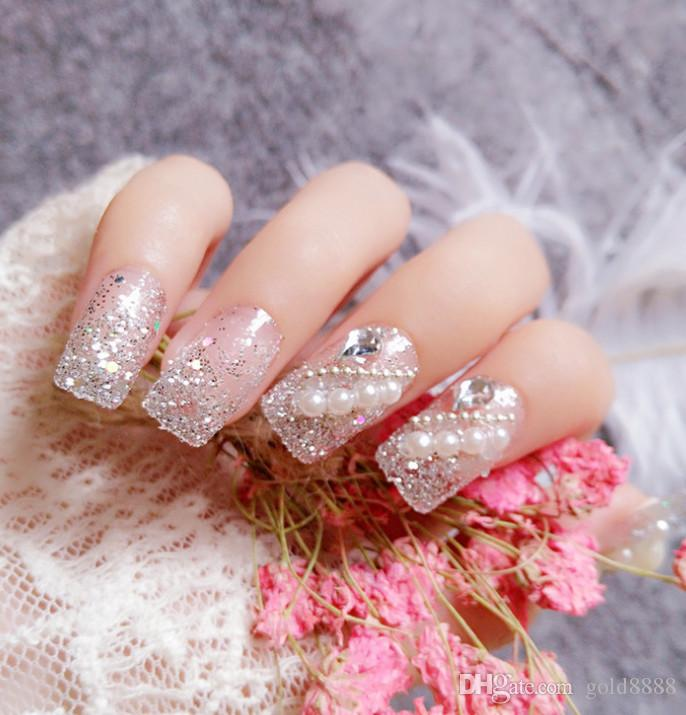 Fashion 3d Womens French Bridal Wedding Nails Rhinestones False