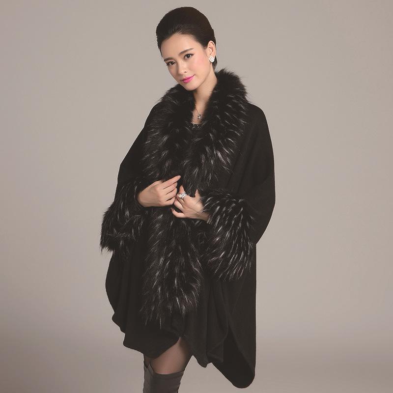 SC65 2017 alto otoño invierno mujer largo cardigan negro falso cuello de piel de zorro de cachemira suéteres chal de punto cardigan poncho cabo