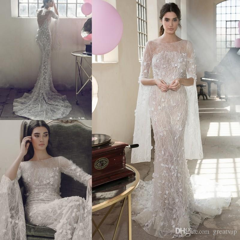 34badbf9 Lee Petra 2019 Sparkly Wedding Dresses Mermaid Long Sleeves Beaded 3D  Floral Applique Lace Up Sheer Neck Luxury Bridal Gowns Robe De Mariée Wedding  Gown ...