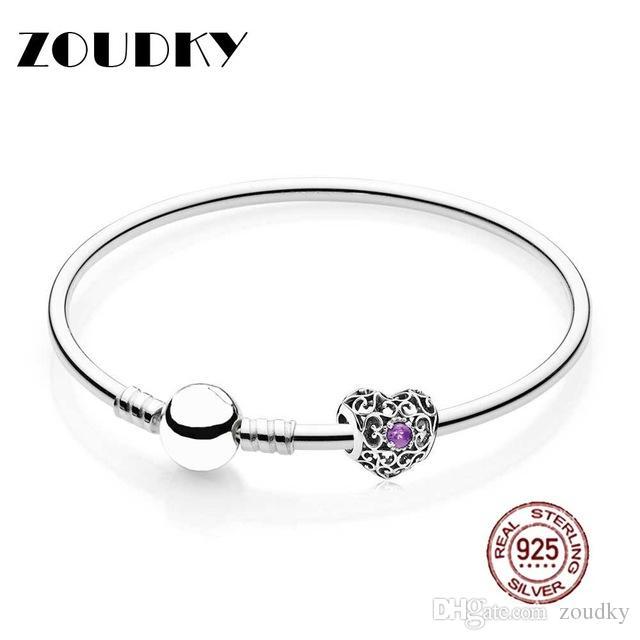 ZOUDKY 100% 925 Sterling Silver February Heart Birthstone Bangle Gift Set Fit DIY Original charm Bracelets jewelry A Set