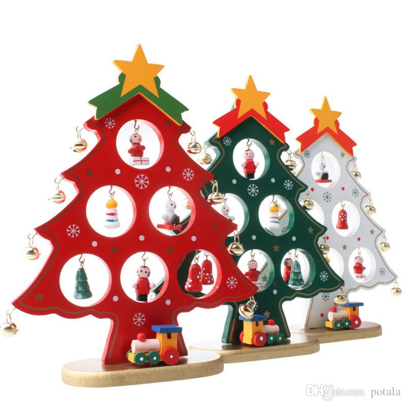 kids toys diy cartoon wooden christmas tree decoration christmas xmas gift ornament table desk decoration red white green novelty toys for christmas for - Christmas Tree Toy Decorations