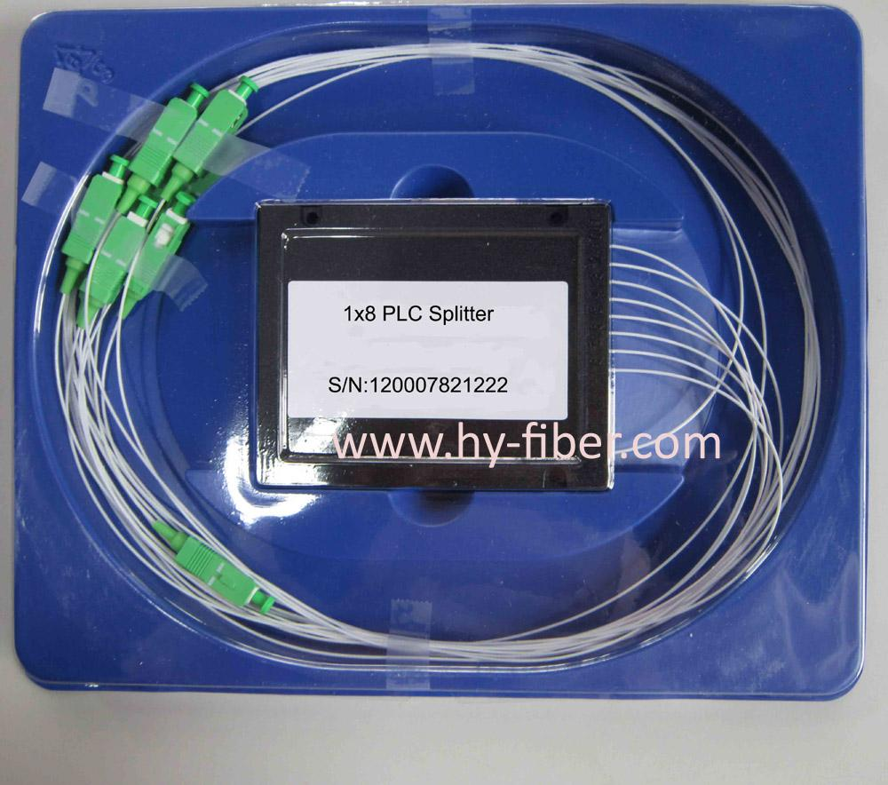 Fiber Optical PLC splitter 1x8,ABS Box with SC/FC/ST/LC CONNECTOR,G657A1 0.9mm cable length 1m 10pcs