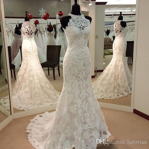 Lace Wedding Dress Halter Neckline High Quality Bridal Gown Bride Wear Dress For Bride