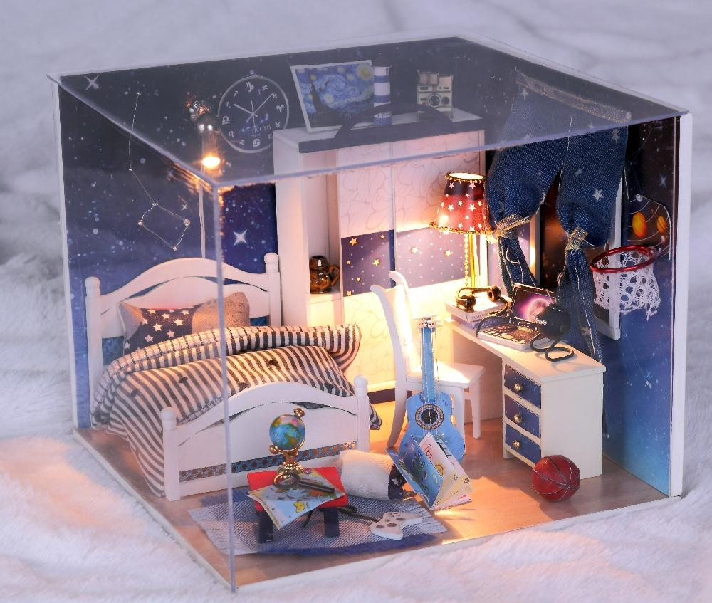 C Doll House Furniture Diy Miniature Bedroom Dust Cover 3d Wooden