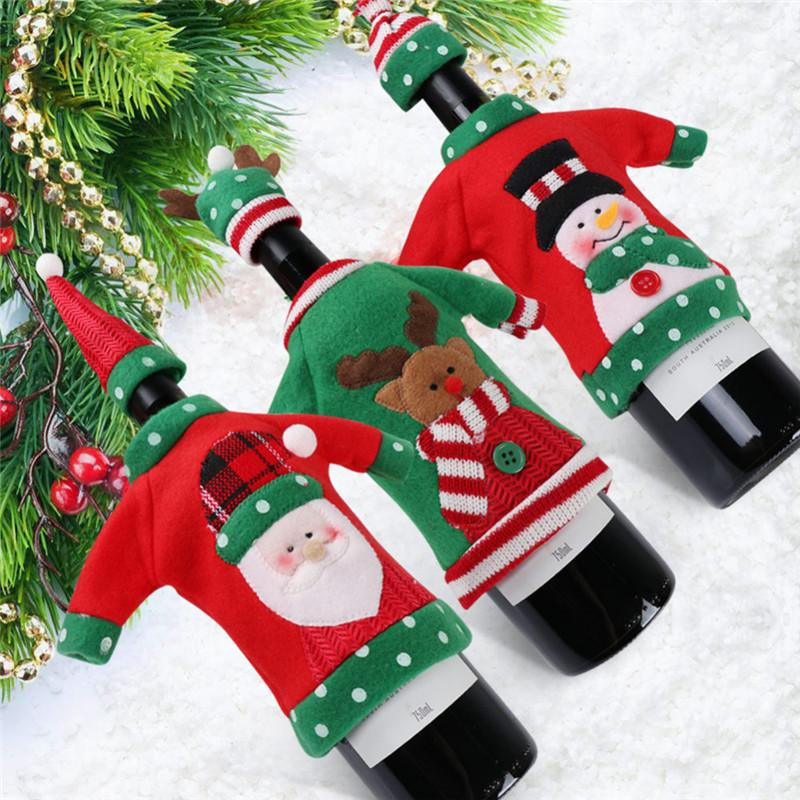 Christmas Decorations Wine Bottle Sweater Cover Bag Santa Claus Knitting Hats for New Year Xmas Home Dinner Party Decor
