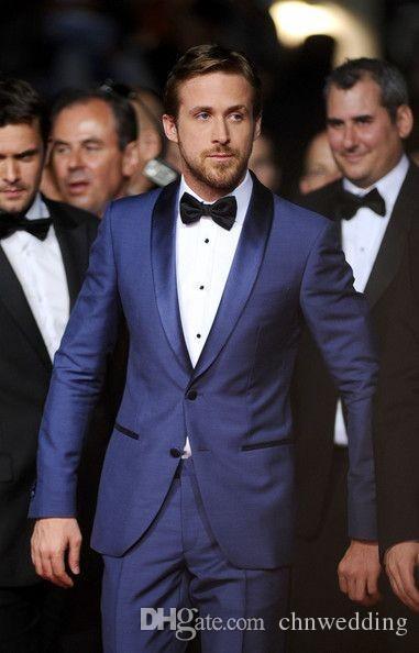 Custom Made Men Suits 2018 with Pants One Botton Royal Blue Groomsman Groom Tuxedos Best Man Suit Men Wedding Suits Slim Fit