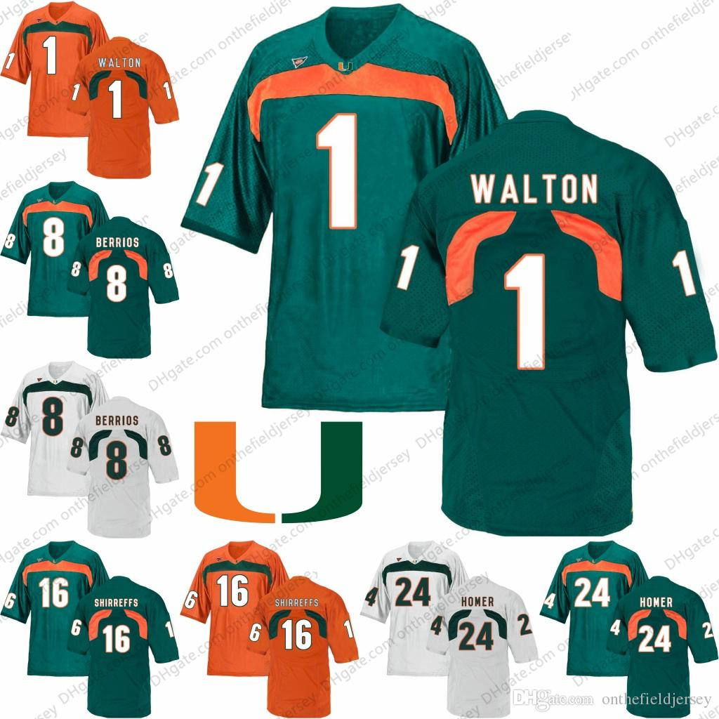 best cheap 20ffd c3ca0 Miami Hurricanes #24 Travis Homer 1 Mark Walton 8 Braxton Berrios 16 Evan  Shirreffs NCAA Football Orange Green White Jerseys S-3XL