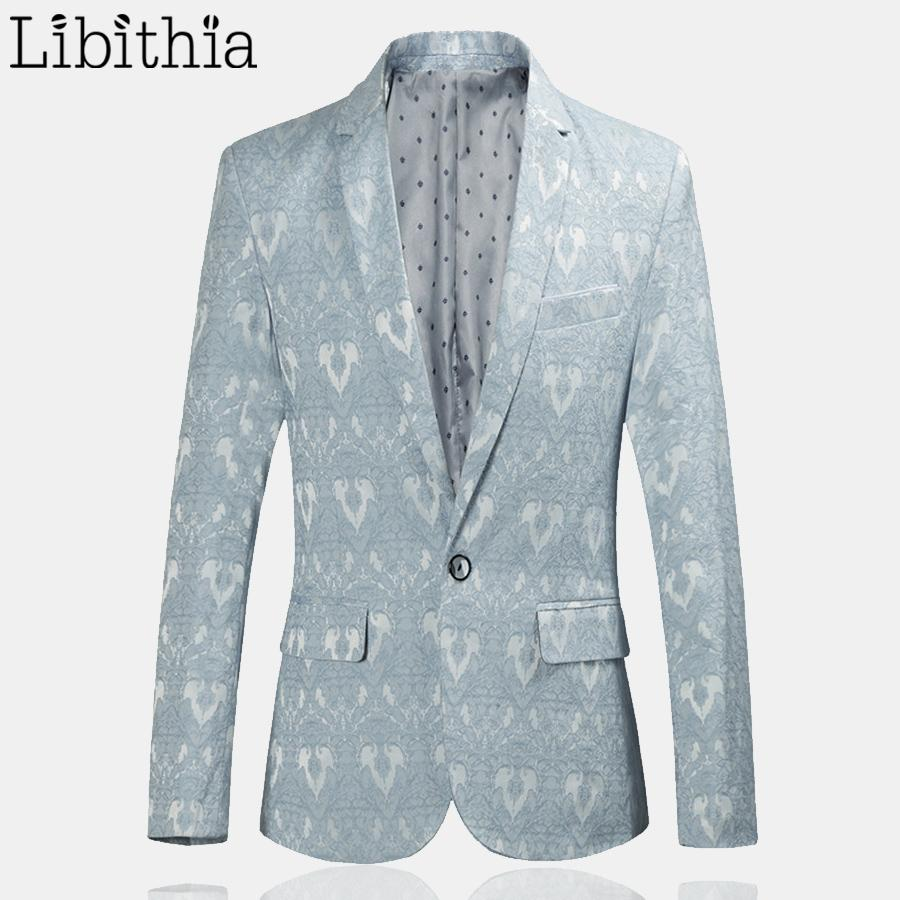 2018 Men Casual Pattern Blazer Slim Fit One Button Suit Jackets ...