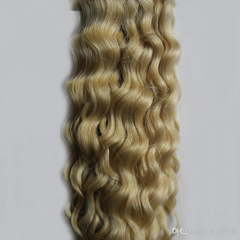 613 Bleach Blonde kinky curly Tape In None Remy Human Hair Adhesive Extension 100g afro kinky curly hair Skin Weft Hair
