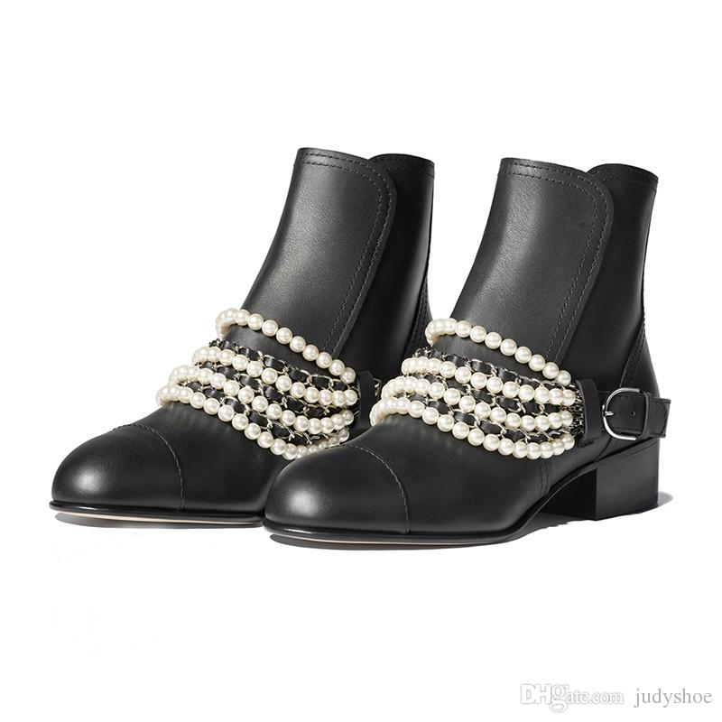 ad392d5631020 Genuine Leather Short Boots Middle Heels Metal Chain Pearled Decor ...