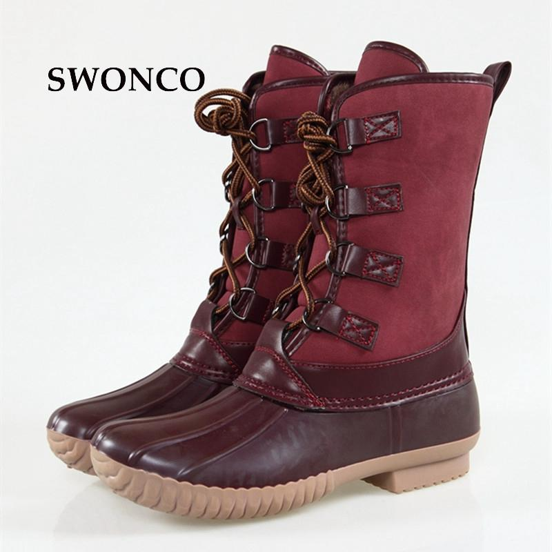 3779627b1defd7 SWONCO Women S Wine Red Duck Boots Waterproof Fashion Rain Boots Warm  Outdoor Mid Calf Women Boot Autumn Winter Rubber Sole Shoe Red Shoes  Footwear From ...