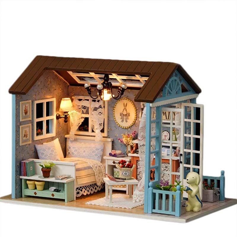 Assembly Diy Wooden Miniature Doll House Sanlan Time With Furniture