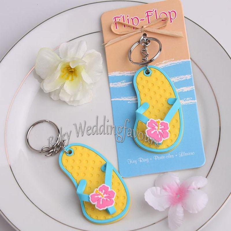 """Wedding Favor """"Flip Flop"""" Decorated Flower Key Ring Slipper keychain Party Favor Souvenir Beach Theme Event Giveaways Birthday Gifts"""
