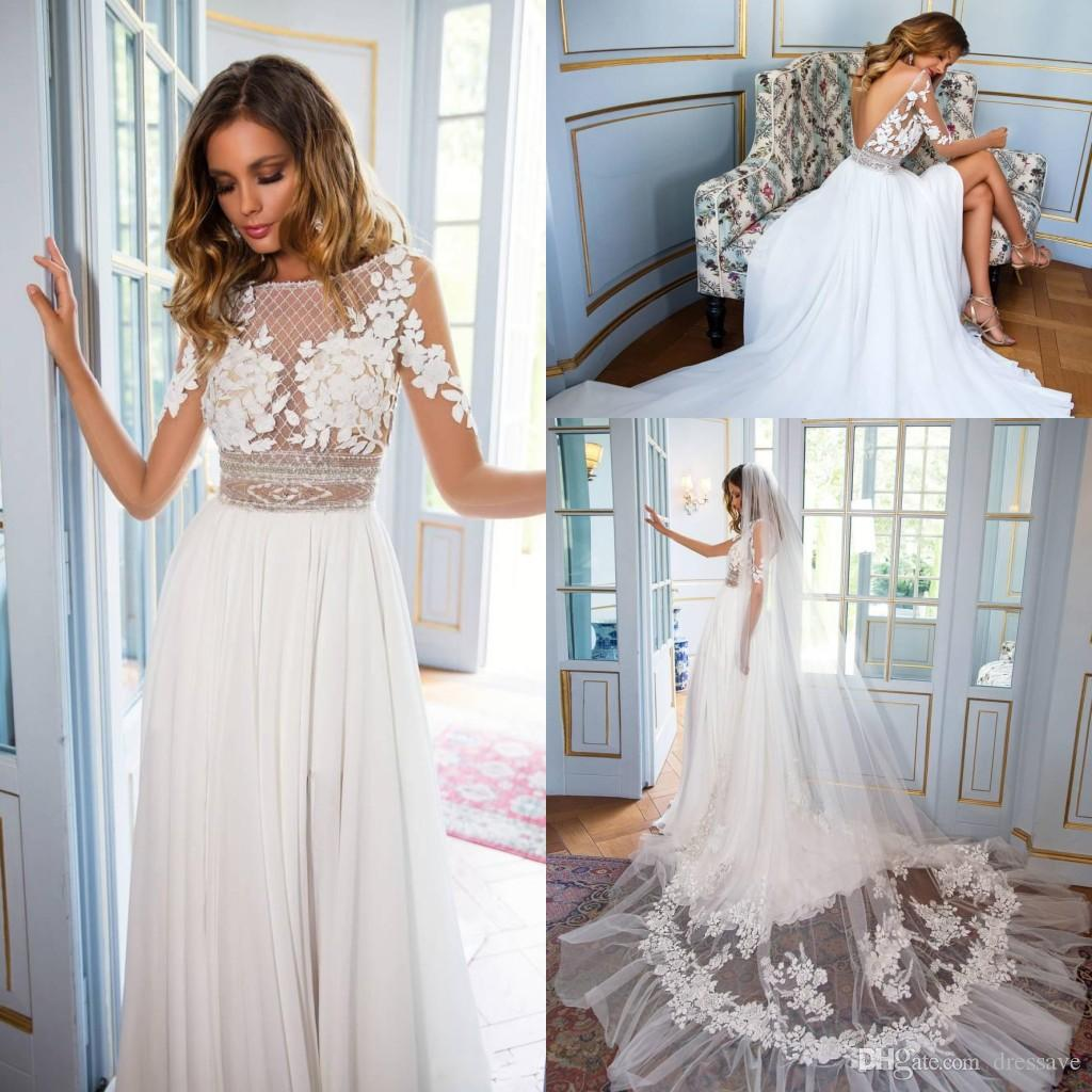 Discount Boho Country Wedding Dresses 2018 Sheer Long Sleeve Lace ...