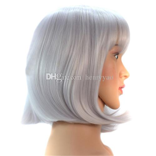 Synthetic Wig Short Stragiht Silver Bob Hair Wigs Fashion Cheap Side Bang for Women Heat Resistant Hair
