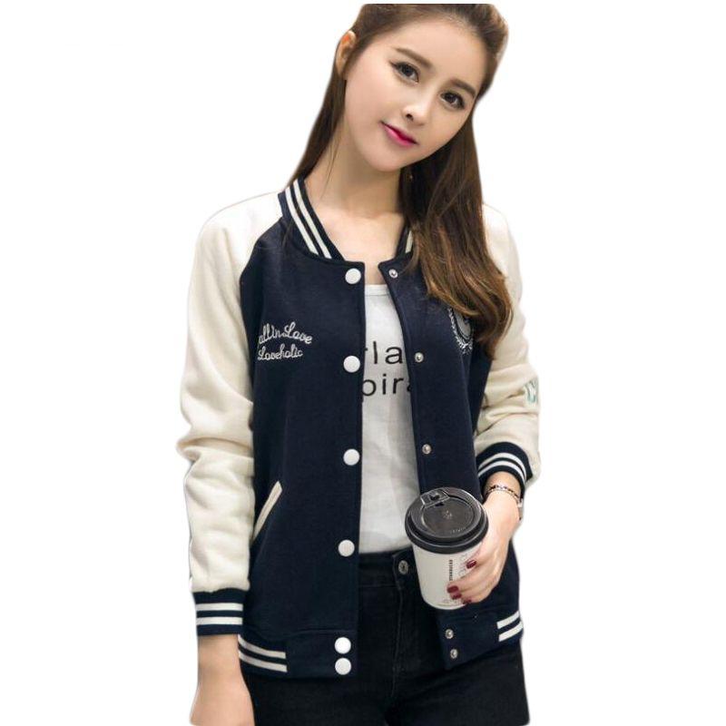 36433c435 2017 Korean Sweatshirt Baseball Jacket Women Hoodies Coat Female Winter  Full Sleeve Sweatshirts Ladies Bomber Jacket E0466 L18100704