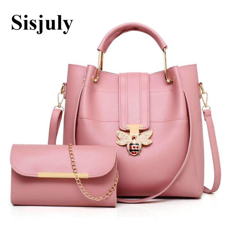 Sisjuly Fashion Large Capacity Women Composite Bags With Bee Luxury Handbag  Female Shoulder Bag Designer Leather Causal Tote Sac Y18102604 Handbags ... bc621cffc8