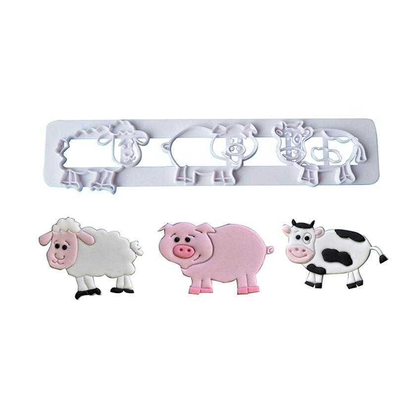 1PC Animal Pattern Mold 3 Hole Plastic Cookie Mould Plastic Sugar Fondant Cake Mold Biscuit Cookie Cut DIY Tools 996050