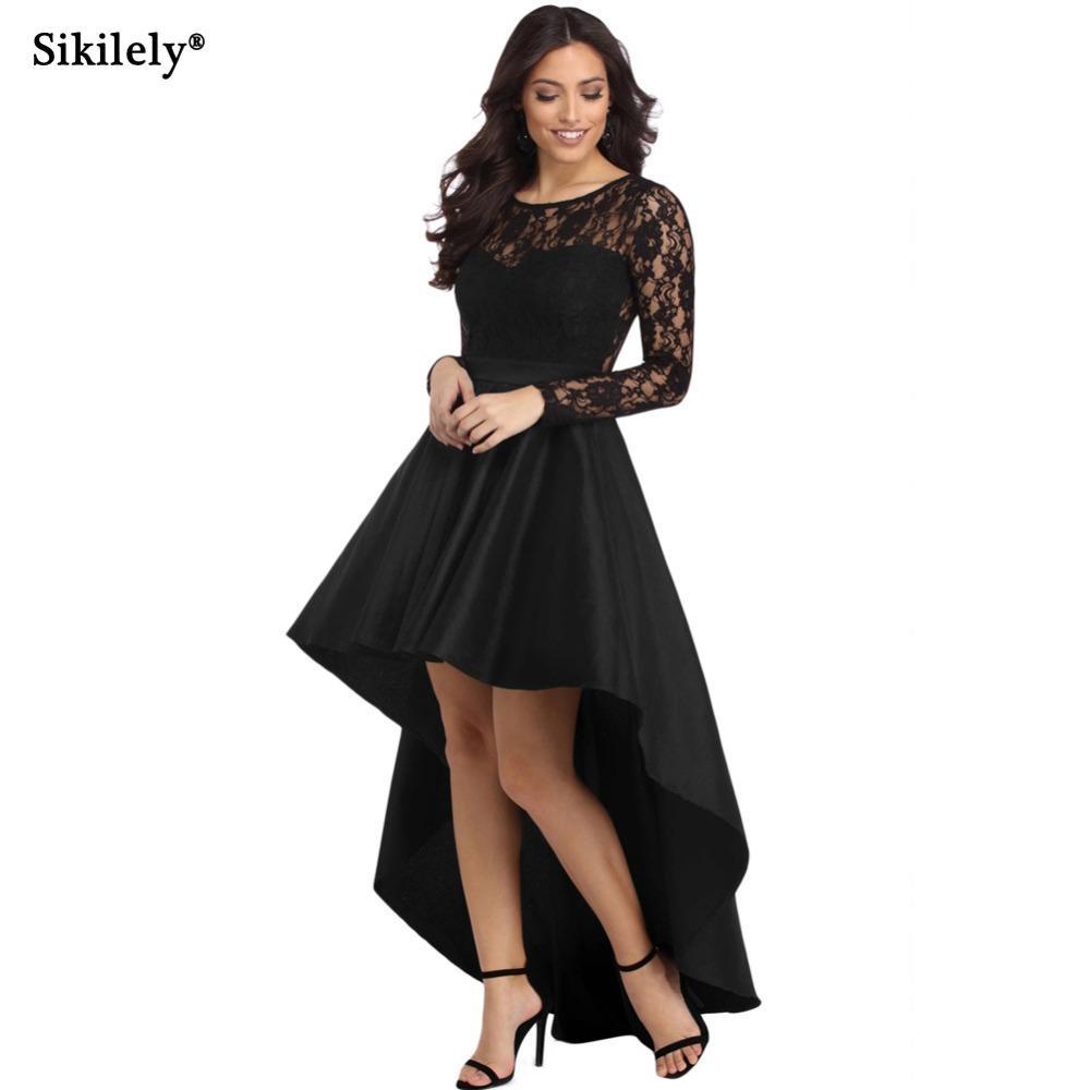 Vestido negro manga larga encaje