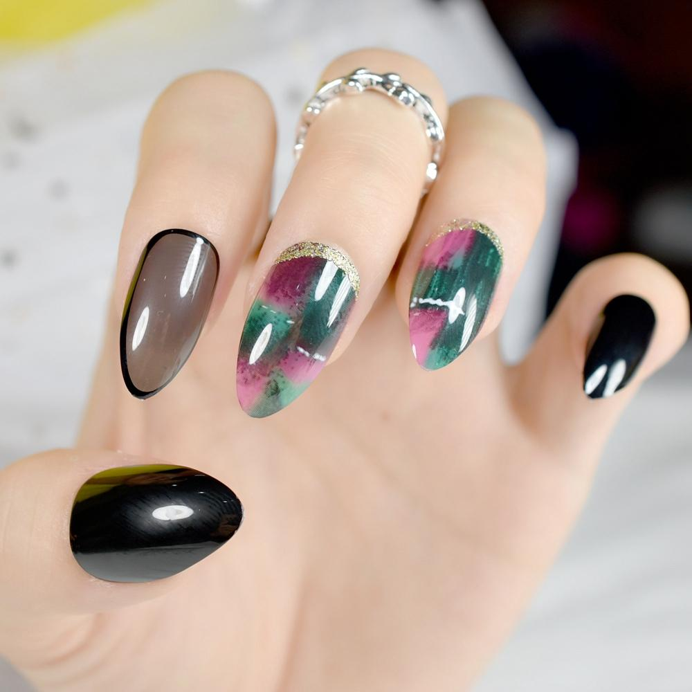 Colorful Marble Pattern Artificial Nails Sharp Medium Full Cover