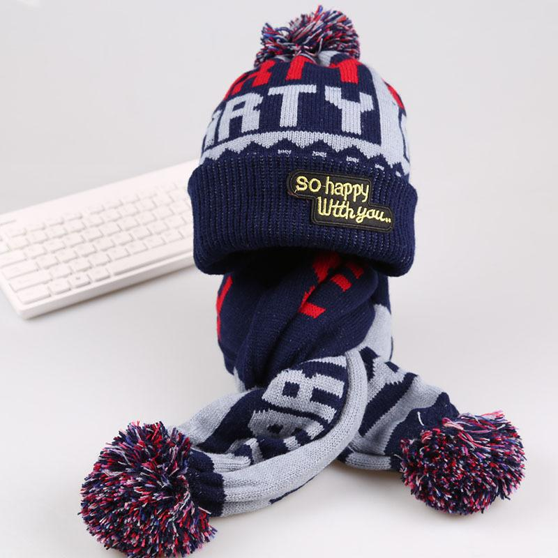 2019 Children Hat Scarf Set Beanie Knit Baby Cap Scarf Pattern