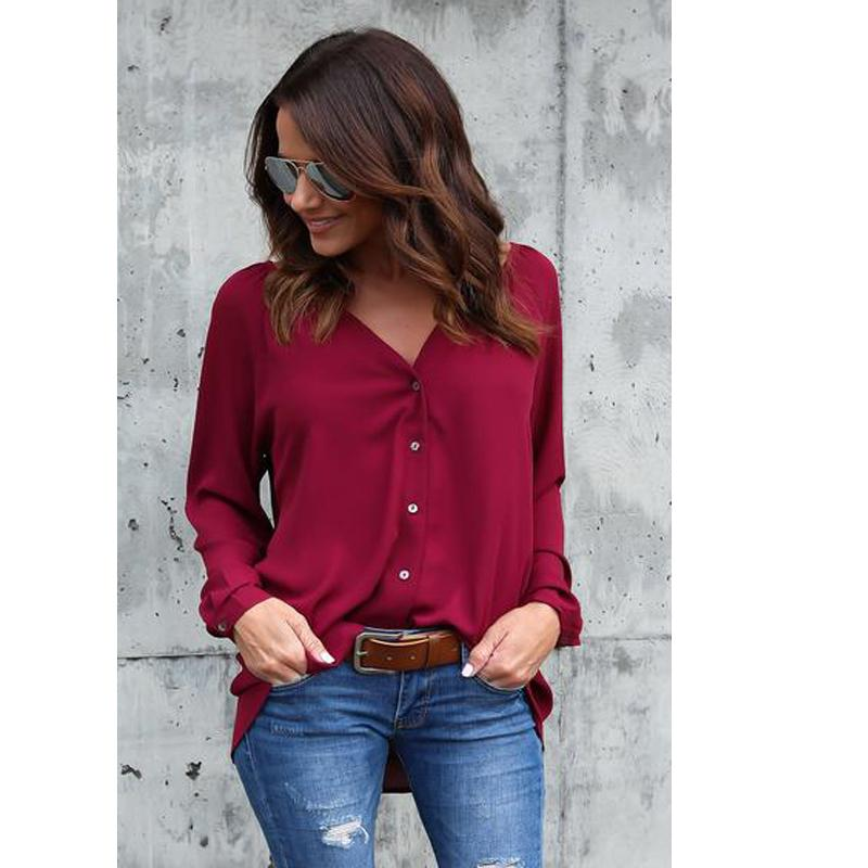 772ff32ba73 Elegant Formal Work Shirt Women Fashion Long Sleeve Loose Chiffon OL Blouse  Casual Summer Autumn Party Shirt Tops Chemise Femme Online with   26.67 Piece on ...