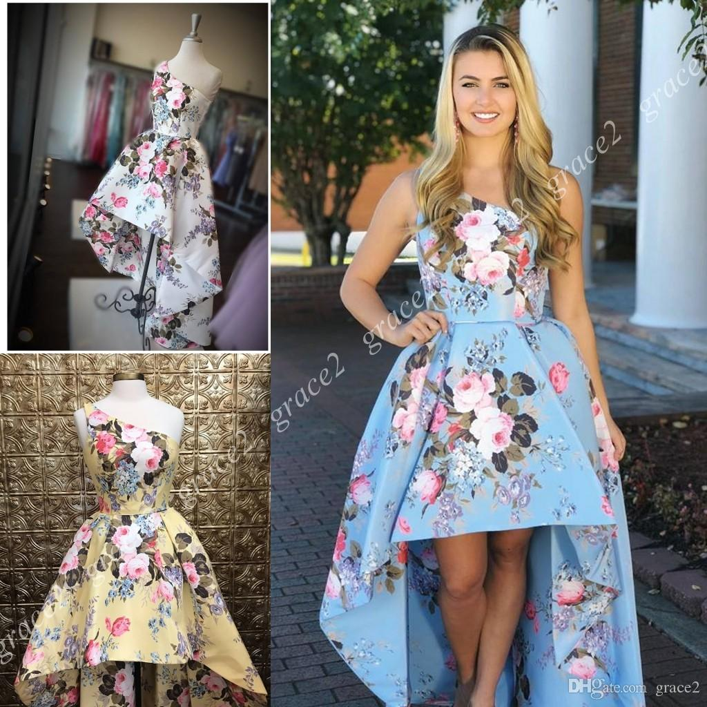a7aab24203 Floral Print Hi Lo Prom Dresses 2k19 One Shoulder High Low Homecoming Gowns  2019 Sky Blue White Real Pictures Formal Evening Dress For Lady Different  Prom ...