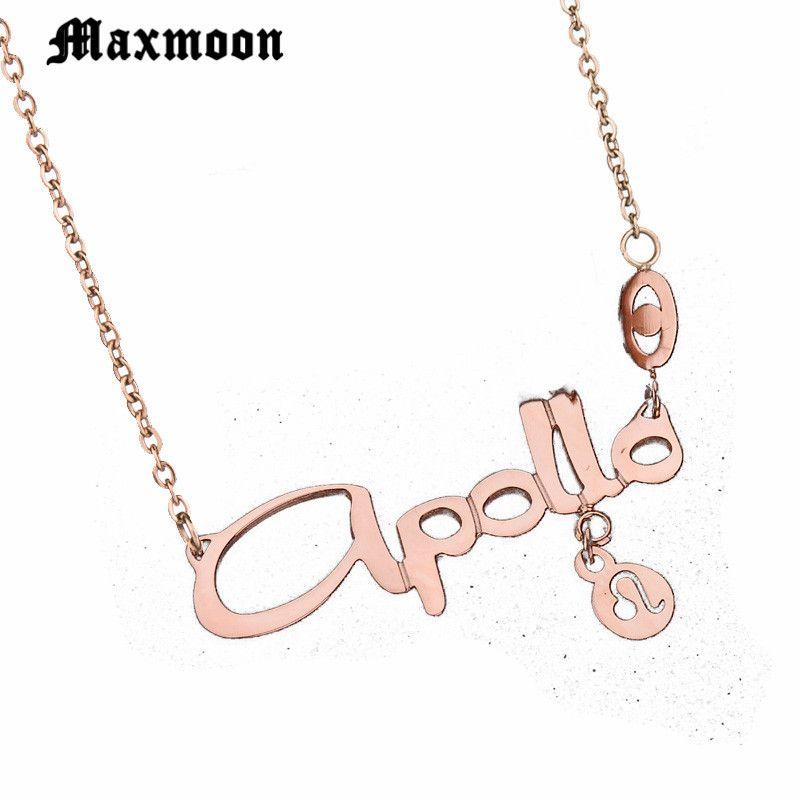 Wholesale Maxmoon Stainless Steel 12 Zodiac Signs Leo Pendant Necklace For Men Wome Titanium Birthday Gift Amulet Chunky Choker Diamond Pendants