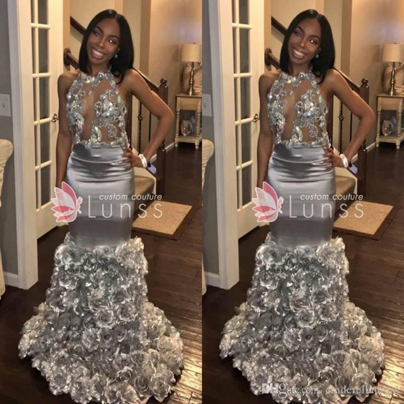 f02485d2add 2018 Sexy Keyhole Neck Mermaid See Through Prom Dresses With Floral Flowers  Skirts Sleeveless Sequins Evening Gowns Prom Dresses Raleigh Nc Prom Dresses  Uk ...