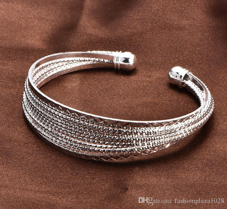 925 silver New Product Charm Handmade Bright Open Adjustable Bangles Antique 925 Silver Bracelets Bangles