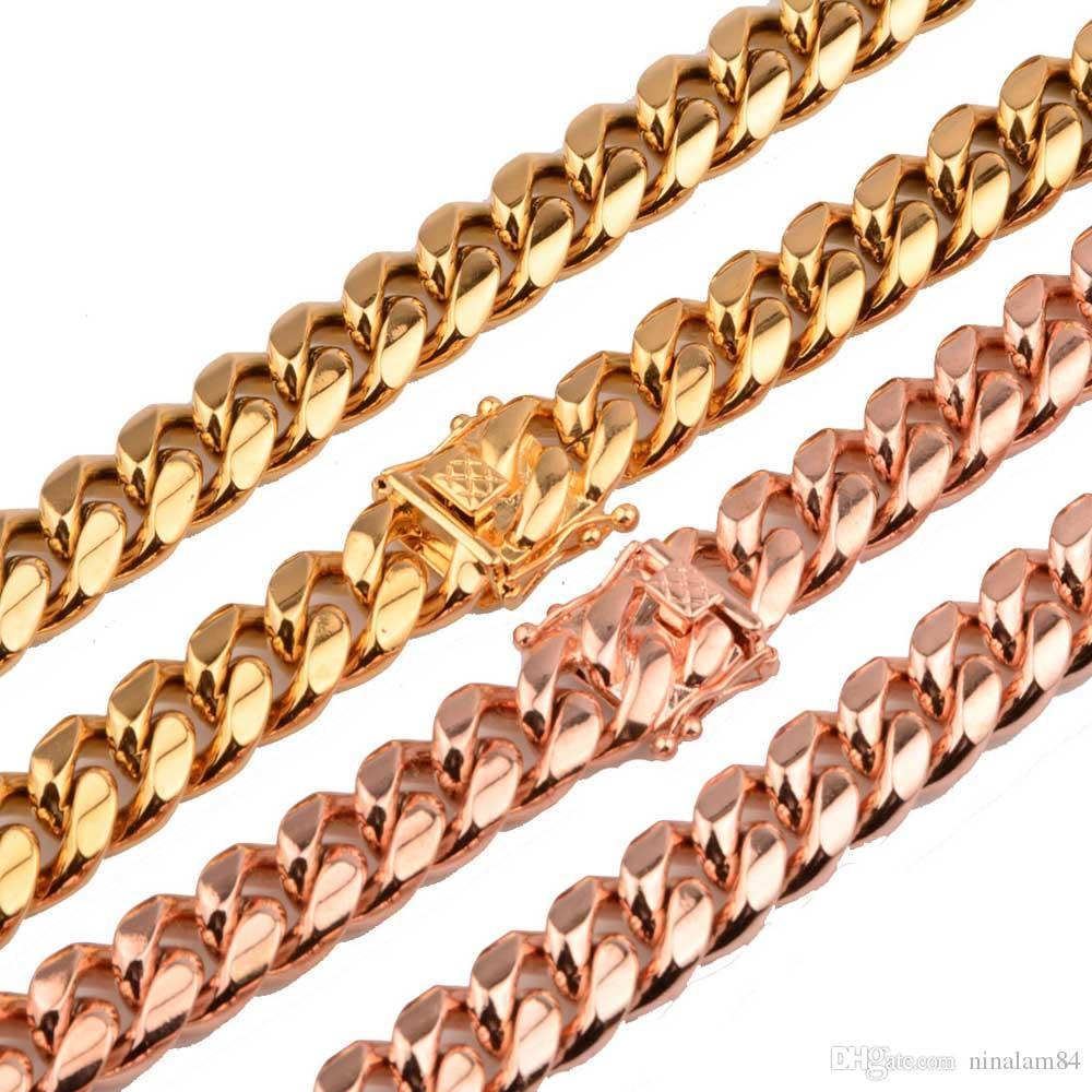 Nuevo Llega 8mm / 10mm / 12mm / 14mm Acero inoxidable Curb Cadena cubana Collar Niños Moda para hombre Cadena de dragón Broche de oro Joyas de oro dorado