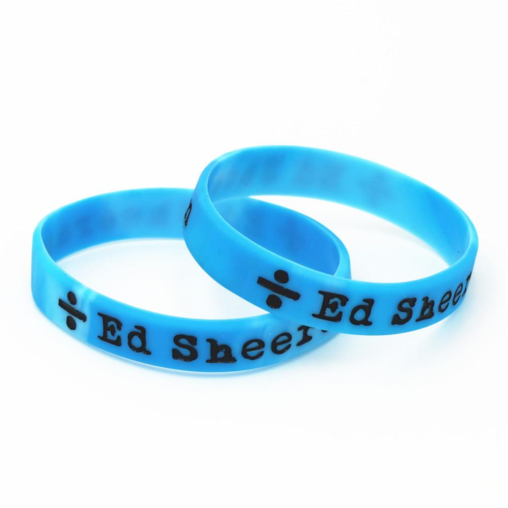 Hot Sale 50PCS Ed Sheeran Divide Silicone Wristband Blue Music Singer Band  Silicone Bracelets & Bangles for Fans Gifts SH079