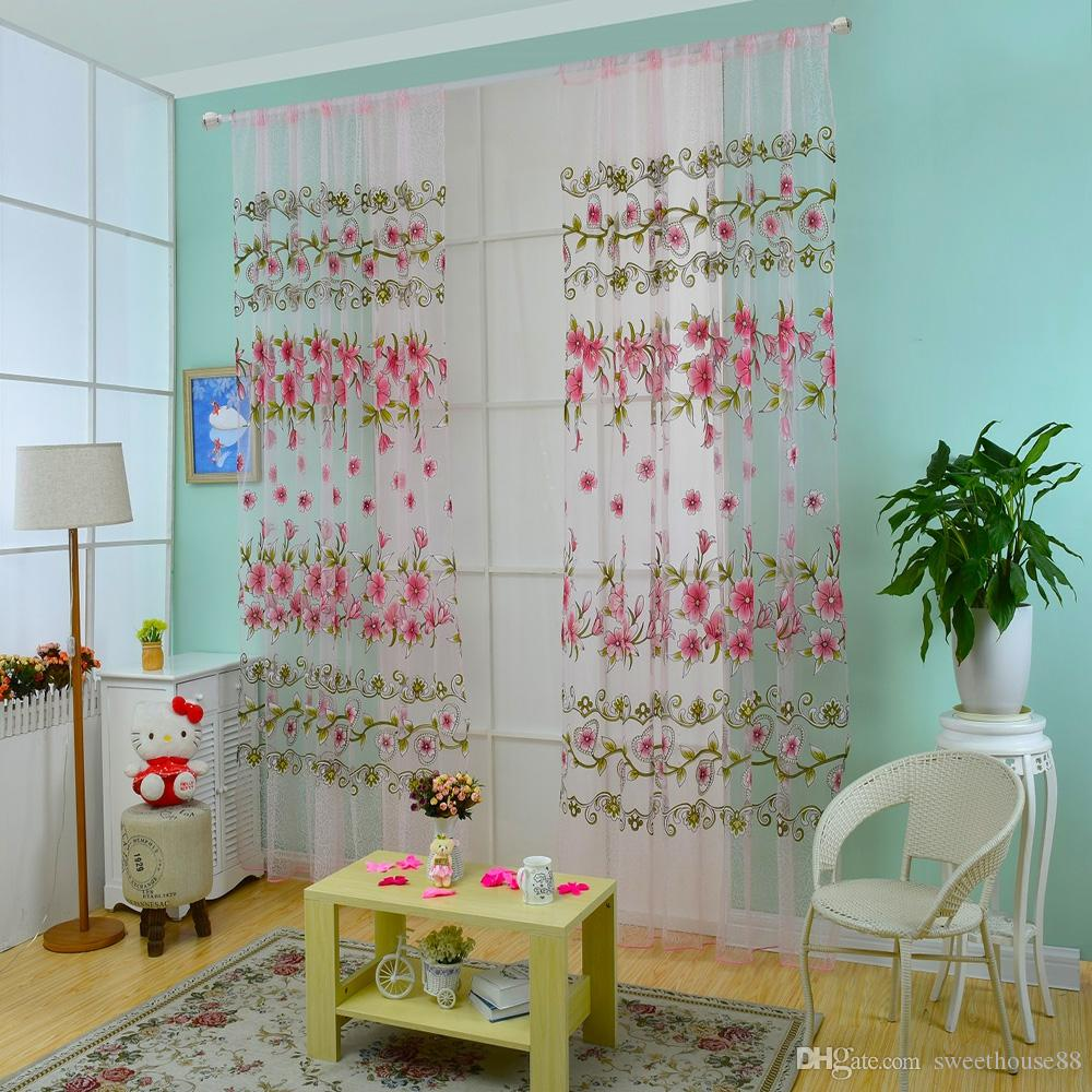 100 x 200cm Floral Printed Tulle Voile Wall Room Divider Window Curtain for Living Room Voile Tulle Door Curtains Drape Panel Sheer NB