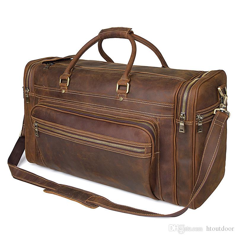 Full Grain Genuine Leather Duffel Bag Carry On Bag Airplane Underseat Travel Weekender Outdoor Camping Handbag Cross Body Bag