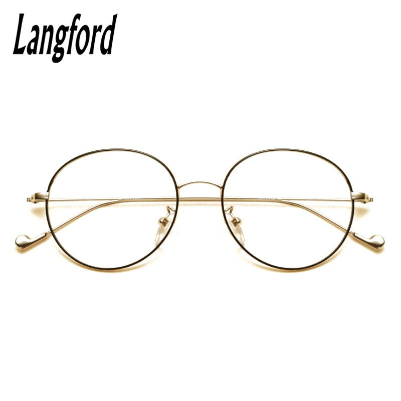 5e57033a5e1d 2019 Langford Brand Vintage Round Optical Frames Big Hipster Glasses Slim  Light Round Eyeglasses Frame Gold Prescription 2708 From Sisan08