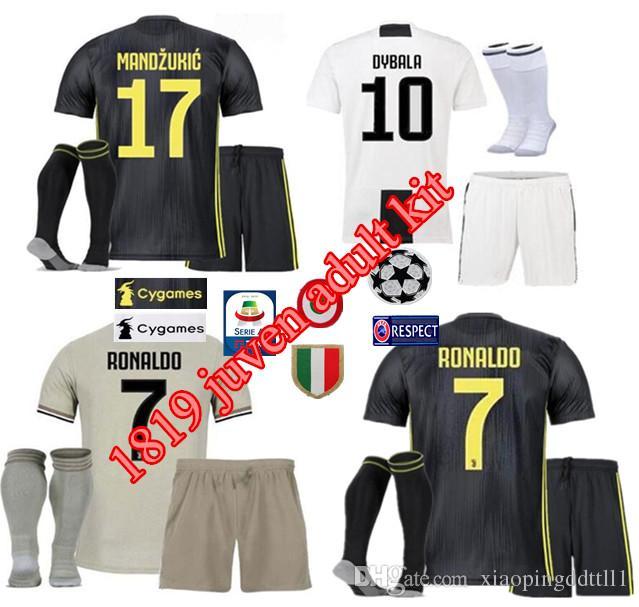 e1b277468 ADUIT 18 19 Juventus 7 RONALDO 10 DYBALA Soccer Jersey Kit 2018 2019 ...
