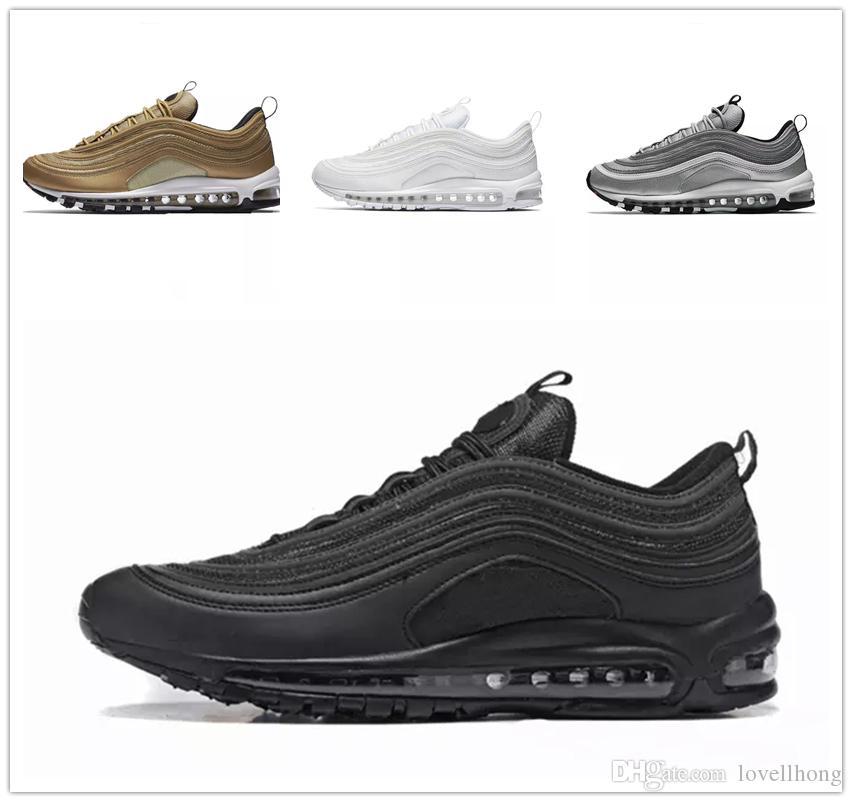 save off 8a949 a79e4 Acheter Nike Air Max 97 Airmax 97 Nouveau 97 97s OG QS Tripel Blanc Noir  Métallisé Or Argent Bullet PRM BLANC 3M Chaussures De Course Pour Homme  Femme ...