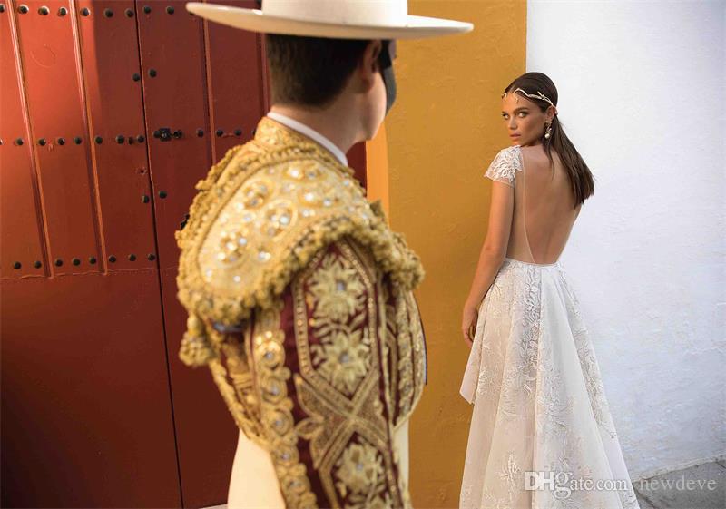 2018 Berta With Sash Mermaid Wedding Dresses Detachable Deep V Neck Sexy Short Sleeve Backless Lace Appliques Wedding Dress Bridal Gowns