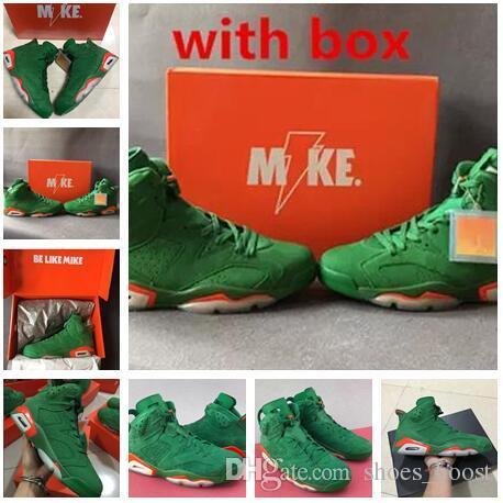 best sneakers d883a 3c3fd 2019 High Quality Gatorade 6 Men Basketball Shoes 6s Gatorade Green Orange  Training Sneaker Sports Shoes Size Eur 40-47