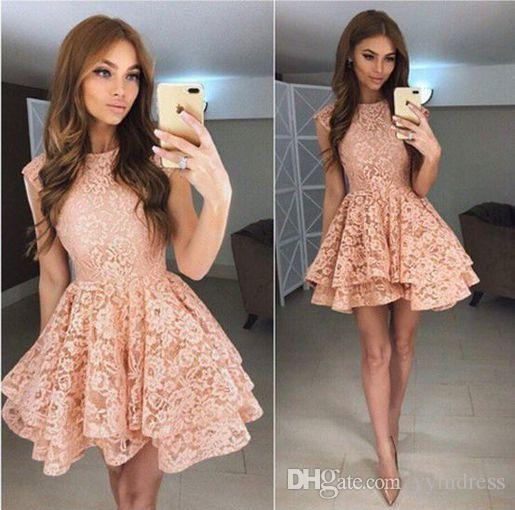 homecoming Dresses 2019 cute lace a-line Short prom dresses Cocktail Graduation short occasion gown Mini Party