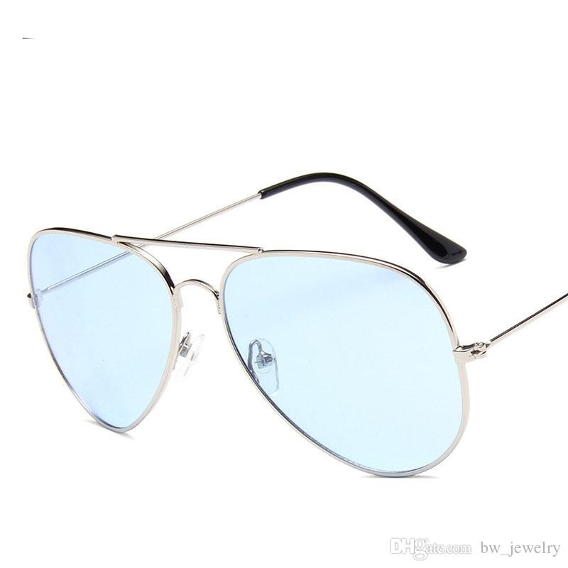 nuevo estilo ba33c da062 Gafas de sol transparentes mujeres color caramelo lente clara gafas de sol  señoras rosa azul piloto gafas marca diseñador sombras uculos