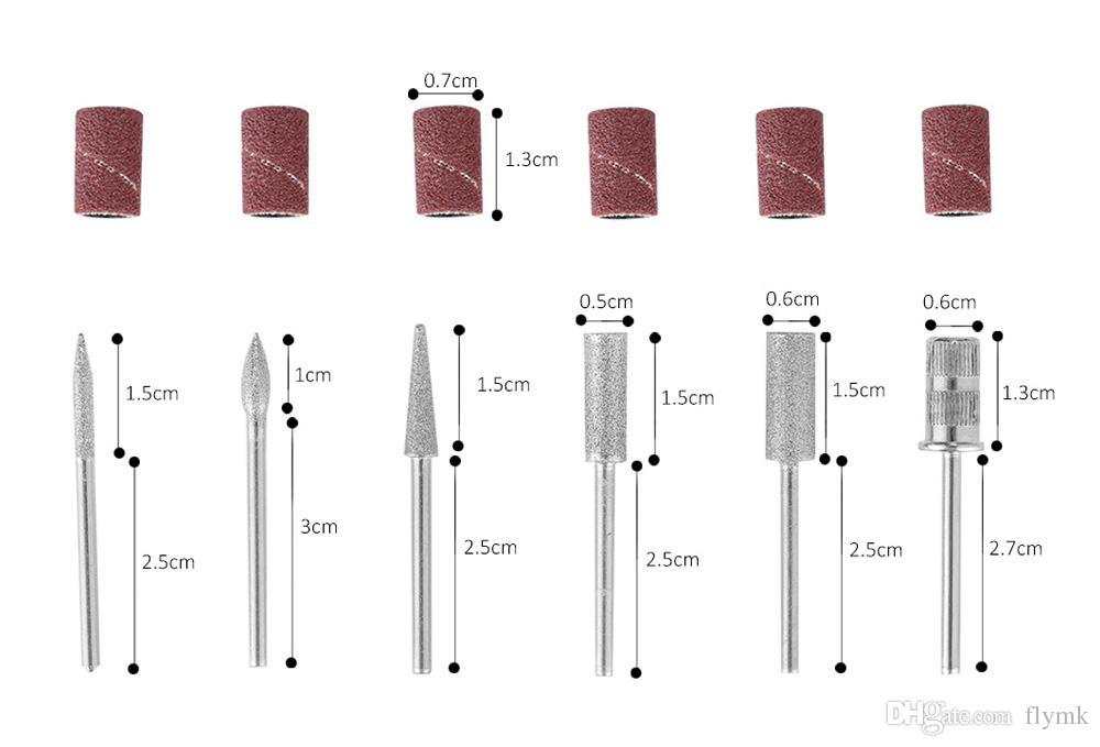 2018 Date Professionnel Puissant Électrique Manucure Foret Lime À Ongles Bits Têtes Pédicure Lime Conseils Polissage Forme Nail Art Outils Kit
