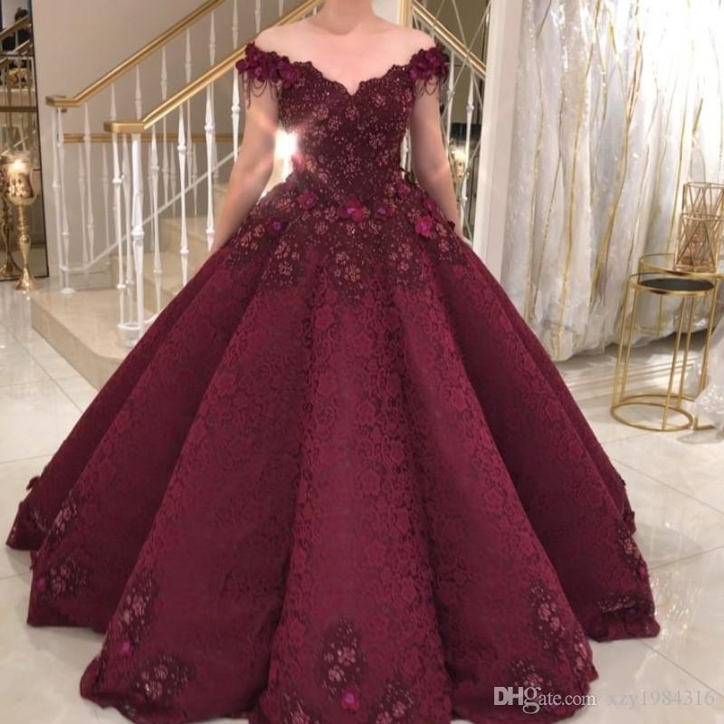 d9bc00c7118 BurgundyLace Ball Gown Prom Dresses Sexy Off Shoulder Floral Appliques  Party Dress Glamorous Dubai Celebrity Evening Gowns Formal Prom Dress  Affordable Prom ...