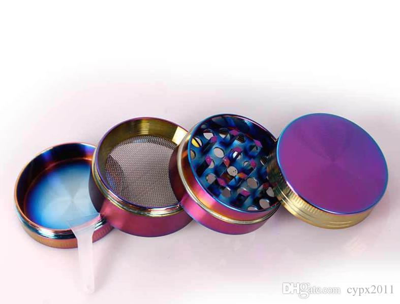 Colored ice zinc alloy four layer flat smoke mill 40mm small cigarette filling and smoke cutter