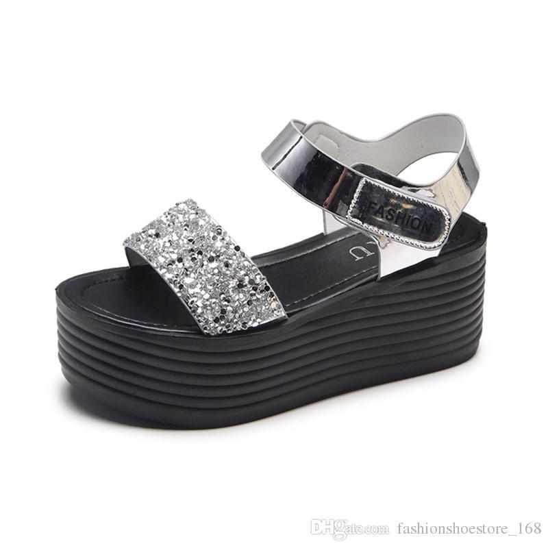 ed2c422c2c8d Gladiator Sandals Women 2018 Summer Fashion Women Sandals Heels Wedges  Platform Peep Toe Flat Ladies Sandals Thick Soled Students Sanalias Prom  Shoes Silver ...