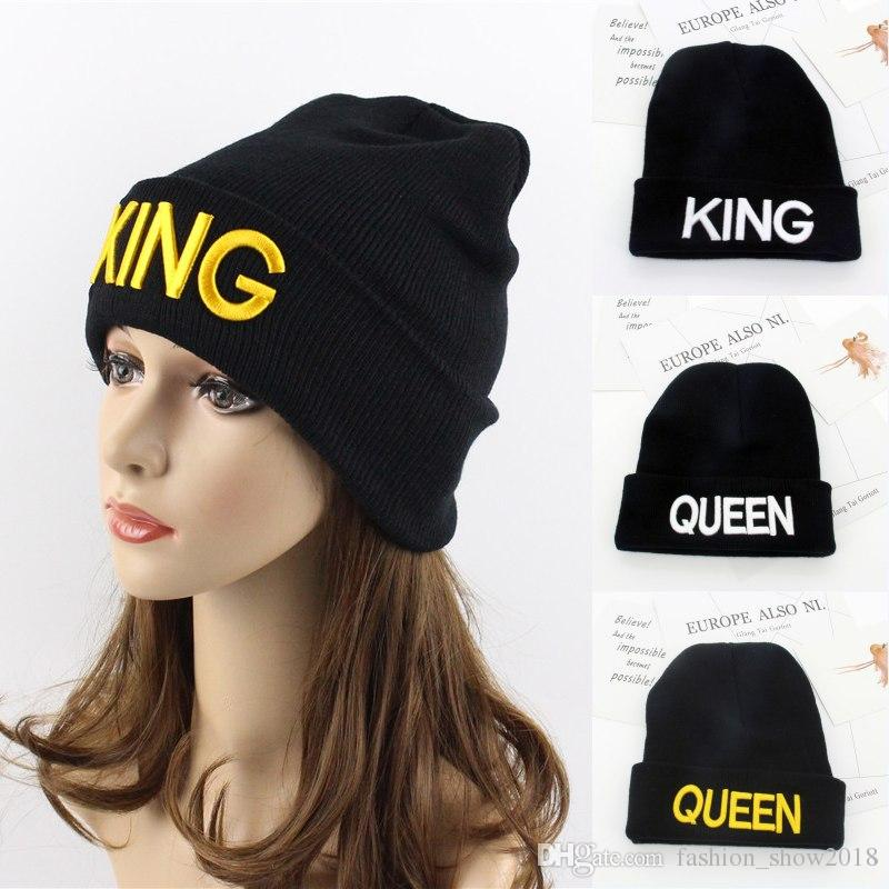 Beanie Hats QUEEN KING Word Embroidery Acrylic Knitted Beanies ... b877973f487