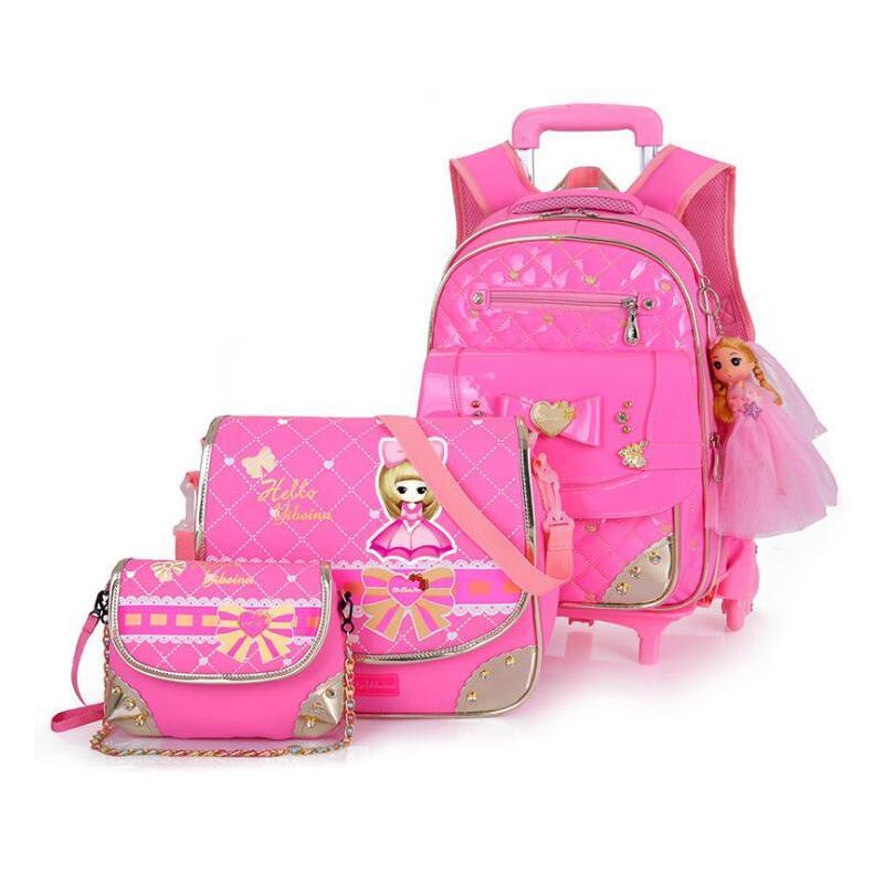 eaa16b21d Korea Style Cute Girls Breathable Waterproof School Bag Alleviate Burden  Children Backpack Removable Two Wheel Trolley Backpacks Hype Bags Hobo Bags  From ...