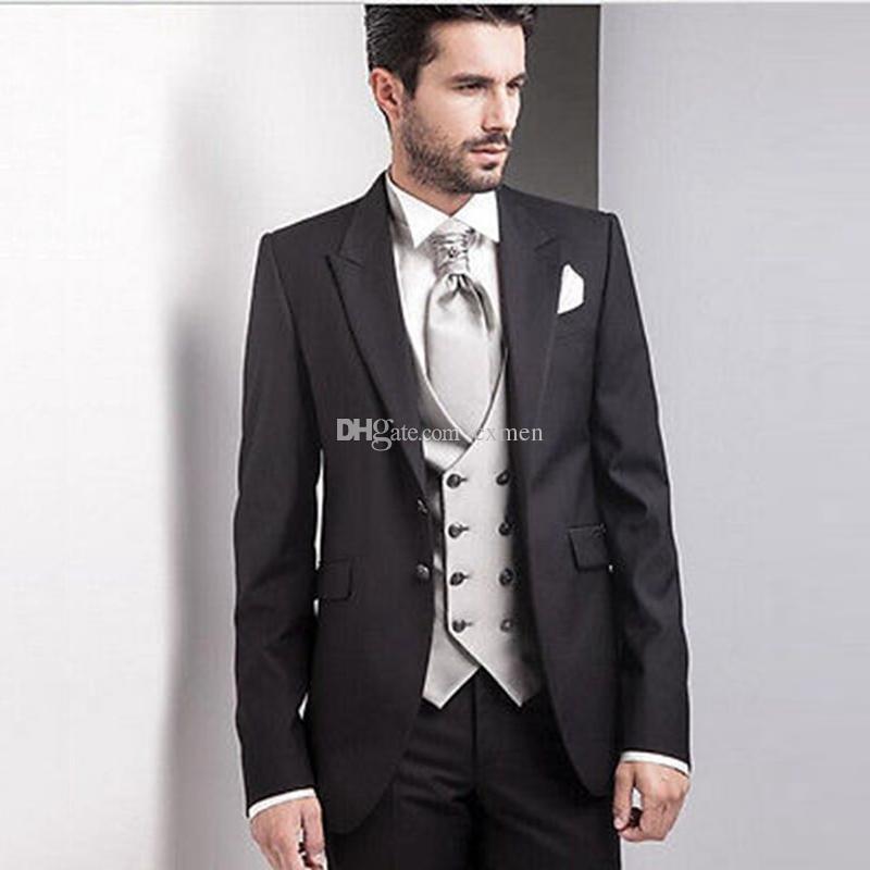 Acheter Rétro Noir Hommes Costumes De Mariage À L Italien À Double  Boutonnage Gilet Slim Fit Marié Tuxedos À Pointe Revers Meilleur Homme  Blazers Veste ... 25259d2b8e6