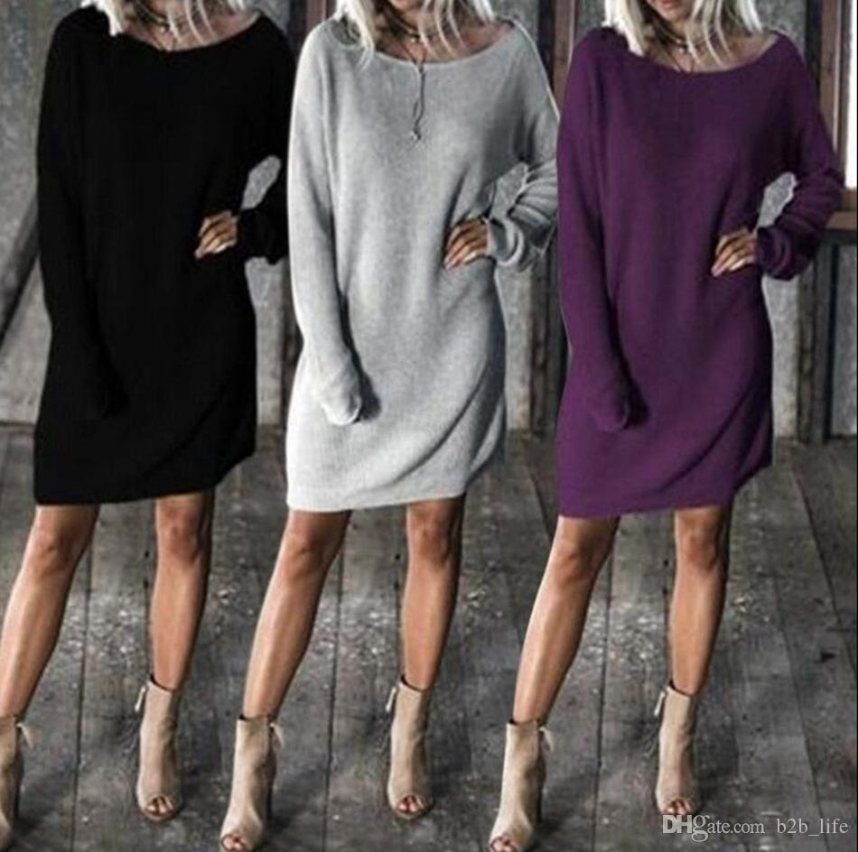 Women Long Batwing Sleeve Round Neck Solid Loose Sweater Dress Pullover Tops Loose Knitted Dress OOA4501