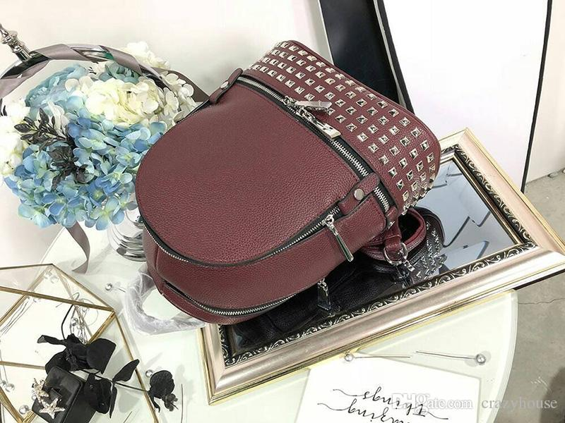 AAAAA 2018 New Luxury famous tide brand leather designer bags rivet backpacks handbag lady Backpack Laptop Sac à main girl Women 180425001